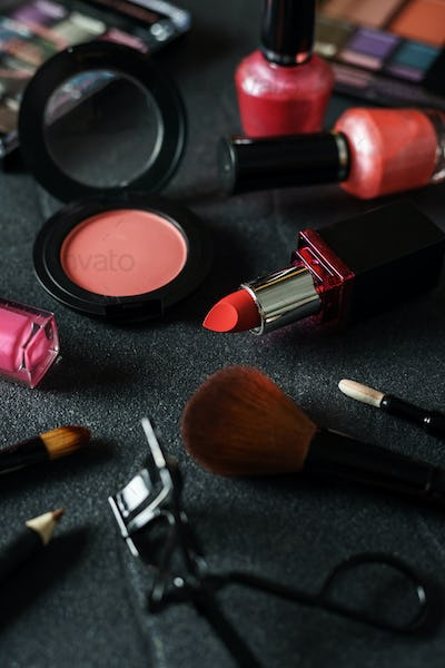 Various make-up products and cosmetics