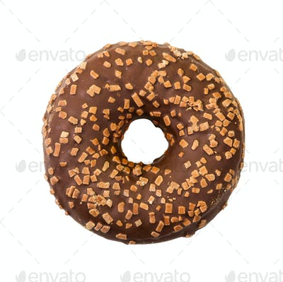Donut with chocolate icing and sprinkles. Top view.