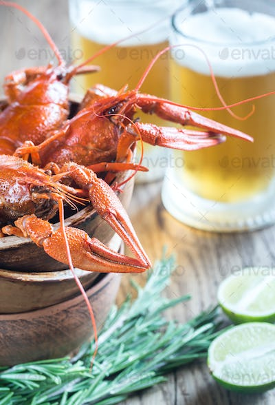 Bowl of boiled crayfish with two mugs of beer