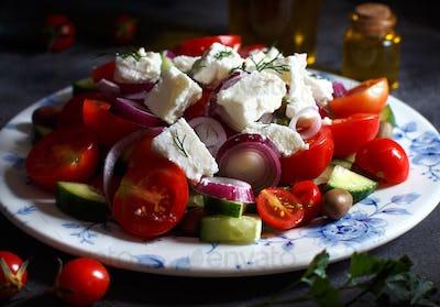 Greek salad on the plate