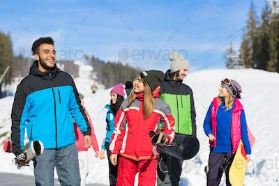 People roup With Snowboard And Ski Resort Snow Winter Mountain Friends Communication