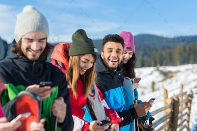People Group With Snowboard Ski Resort Snow Winter Mountain Cheerful Friends Cahtting Online Smart