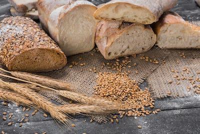 Bakery concept. Plenty of sliced bread background