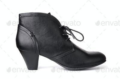 Single black leather women's shoe