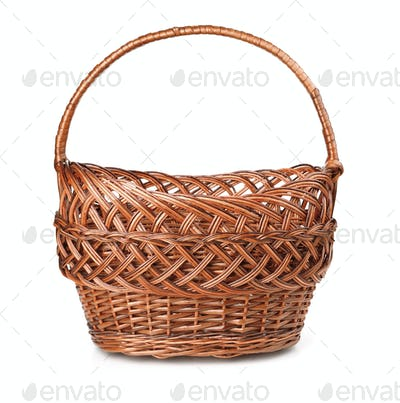 Front view of empty wicker basket