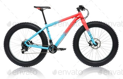 New blue with red bicycle with thick tires for snow ride isolate