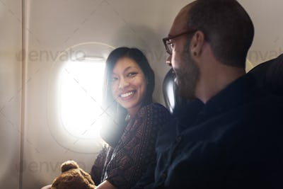 Passenger Airplane Talking Cheerful Concept