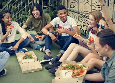 People Friendship Togetherness Eating Pizza Youth Culture Concep