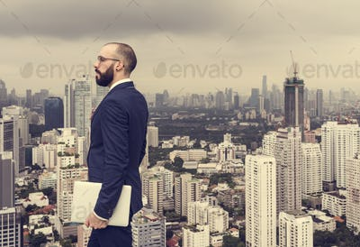 Business Person Standing Rooftop Concept