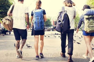 Friends Travel Backpacker Adventure Concept