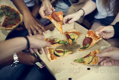 Pizza Sharing Togetherness Friendship Community Concept