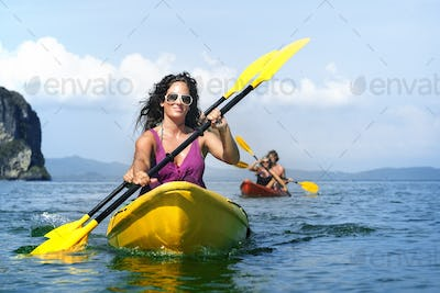 Kayaking Tropical Vacation Trip Tourist Boat Concept