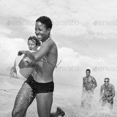Beach Ball Cheerful Enjoyment Freinds Summer Concept