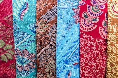 Amazing colorful Balinese sarongs for sale in Ubud, Bali, Indone