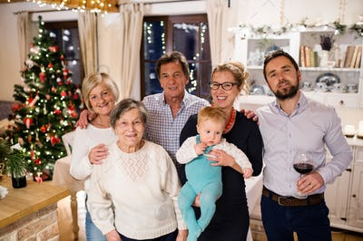 Beautiful big family celebrating Christmat together