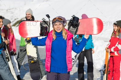 Woman With Snowboard Group Of People Ski Snowboard Resort Winter Snow Mountain