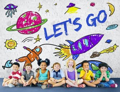 Kids Imagination Space Rocket Joyful Graphic Concept