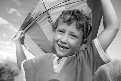 Kite Boy Brother Happiness Joyful Holiday Child Concept
