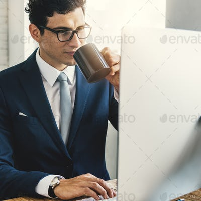 Business Man Drinking Coffee Office Concept