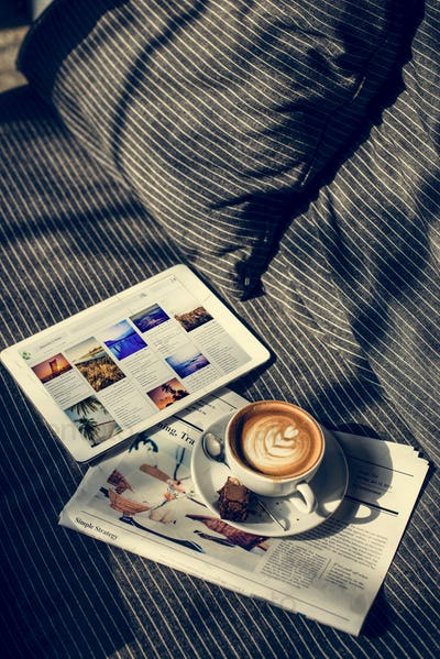 Coffee Americano Espresso Newspaper Couch Brownie Digital Tablet