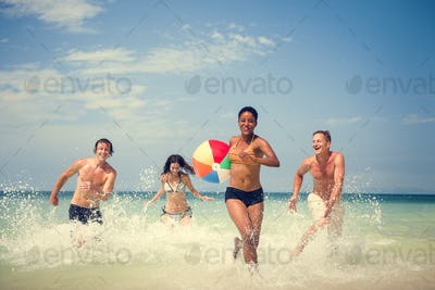 Beach Ball Friends Summer Vacation Travel Concept