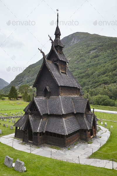 Traditional norwegian stave church. Borgund. Travel Norway. Tourism background