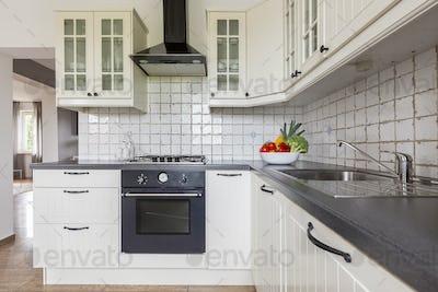 White furniture in the kitchen