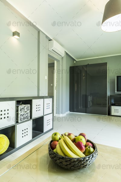 Bright room interior with wardrobe