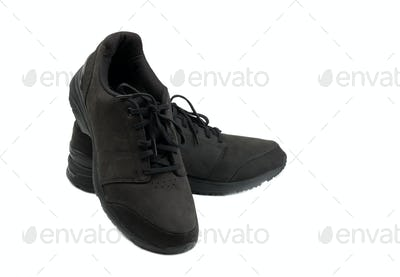 pair of black men shoes. Isolate on white.