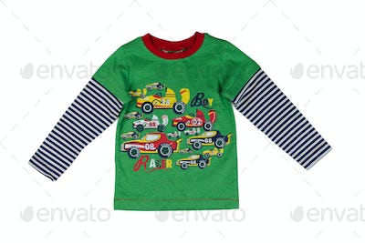 Children green striped sweater with long sleeves.