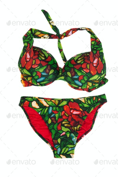 Green with red swimsuit with a pattern.