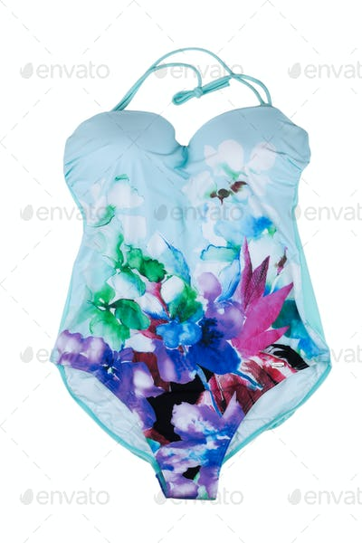 Blue fused swimsuit with floral pattern.