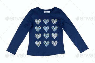 Blue jacket with long sleeves with a heart pattern.