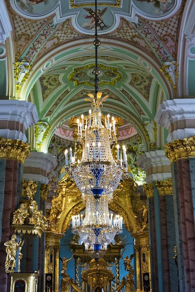 Chandeliers in the church.