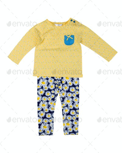 Children's clothing with a pattern of daisy