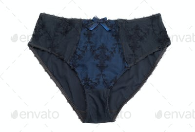 Blue with gray lace panties.