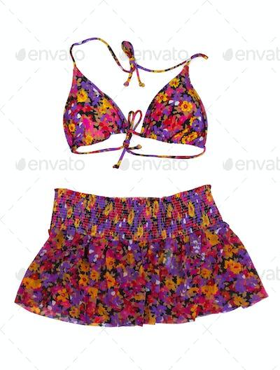 Swimwear, bra and skirt.