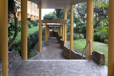 corridor, columns, tropical