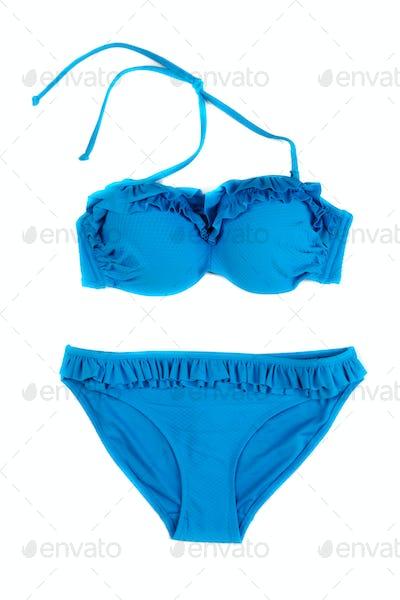 Trendy blue swimsuit.