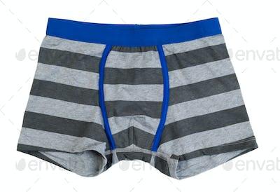 Gray striped pants.