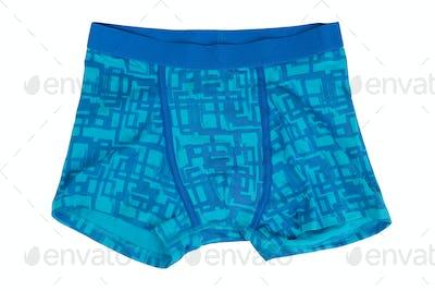 Blue shorts.