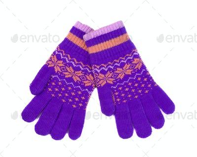 Violet-orange gloves with winter pattern, pair.