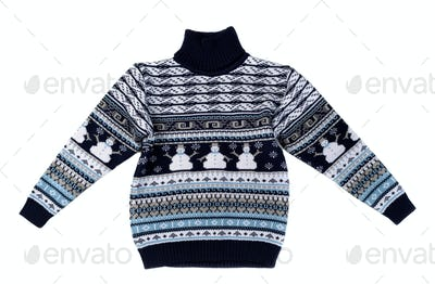 Knitted sweater with a snowman pattern.
