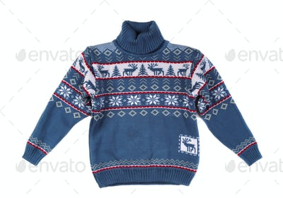 Knitted sweater with a pattern deer.