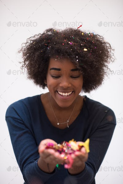 happy young woman celebrating