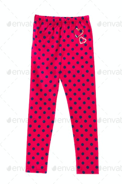 Red tights with polka dots. Isolate on white.