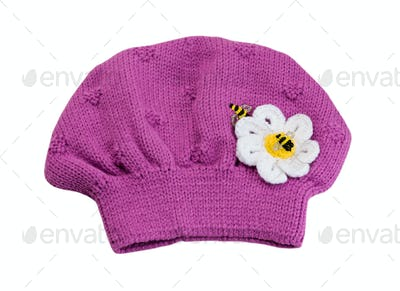 Pink knitted hat beret.
