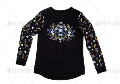 Black jacket with floral pattern