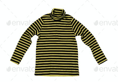 Striped yellow black knitted sweater