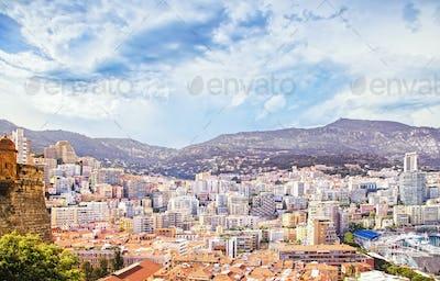 Monaco Montecarlo principality aerial view cityscape. Azure coas